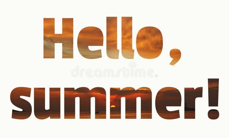 Bonjour lettrage d'?t? Brun orange vif de coucher du soleil tropical et fond de corail illustration libre de droits