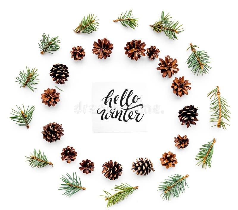 Bonjour lettrage de main d'hiver Modèle d'hiver avec les branches et les pinecones impeccables sur la vue supérieure de fond blan photographie stock libre de droits