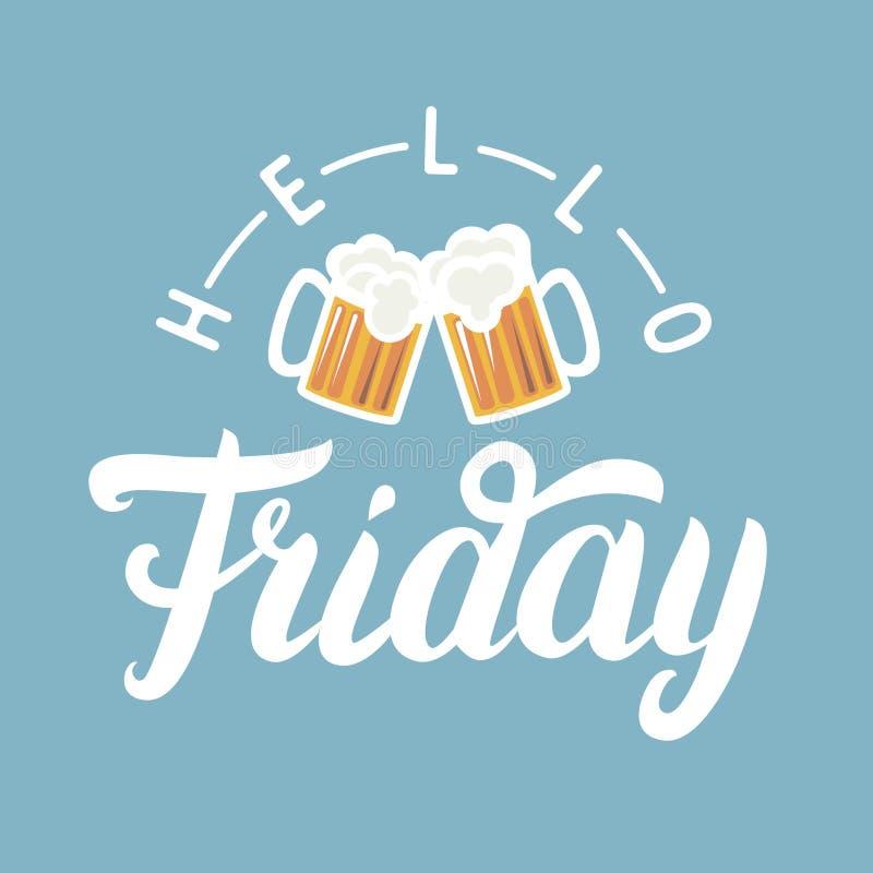 Bonjour lettrage de main de vendredi avec la pinte de bière sur le fond bleu illustration libre de droits