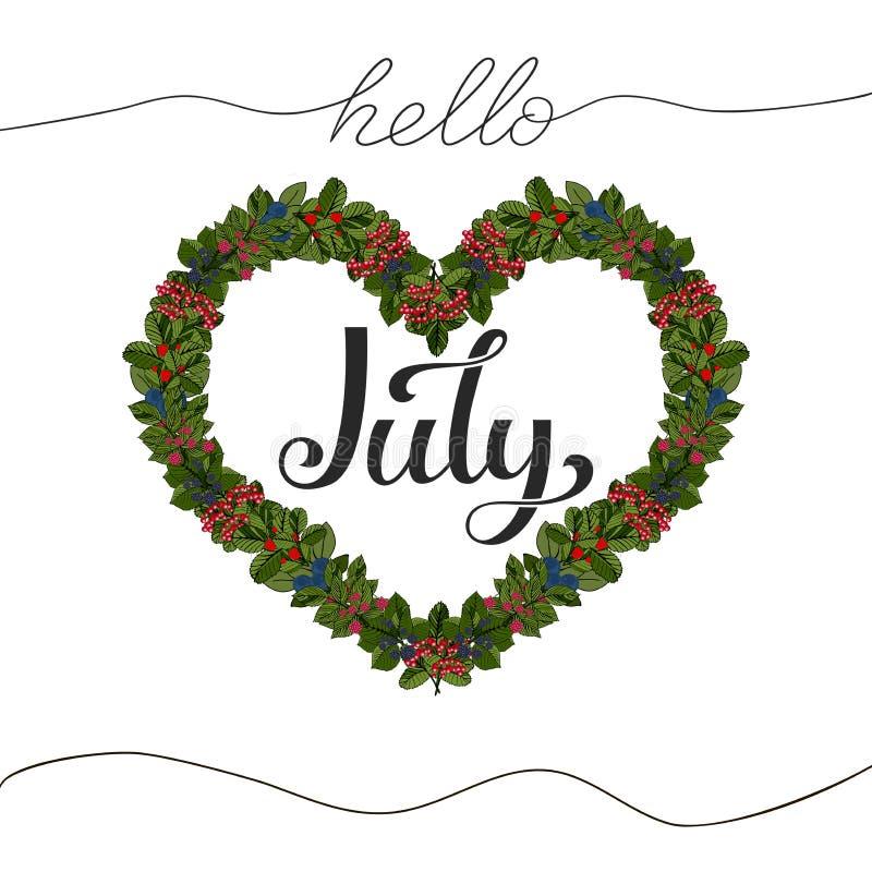 Bonjour lettrage tiré par la main de juillet Illustration de vecteur illustration stock