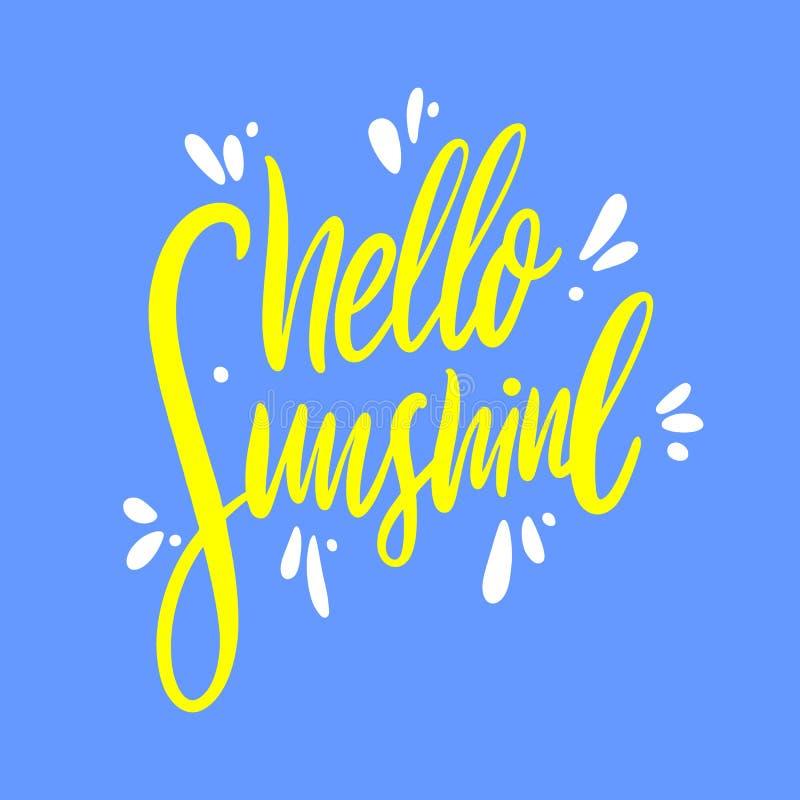Bonjour lettrage tir? par la main de vecteur de soleil D'isolement sur le fond bleu illustration stock