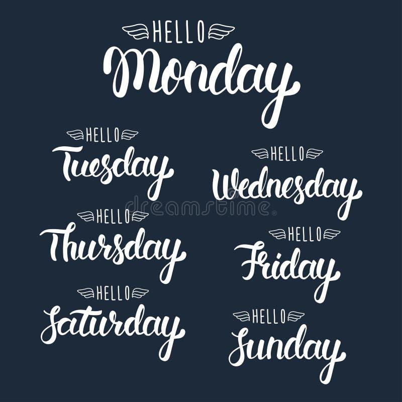 Bonjour lundi Jours manuscrits de la semaine Ensemble calligraphique en encre blanche Calligraphie moderne de motivation Vecteur illustration stock