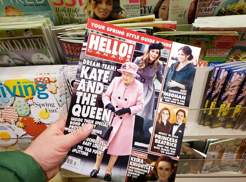 Bonjour magazine dans une main photographie stock