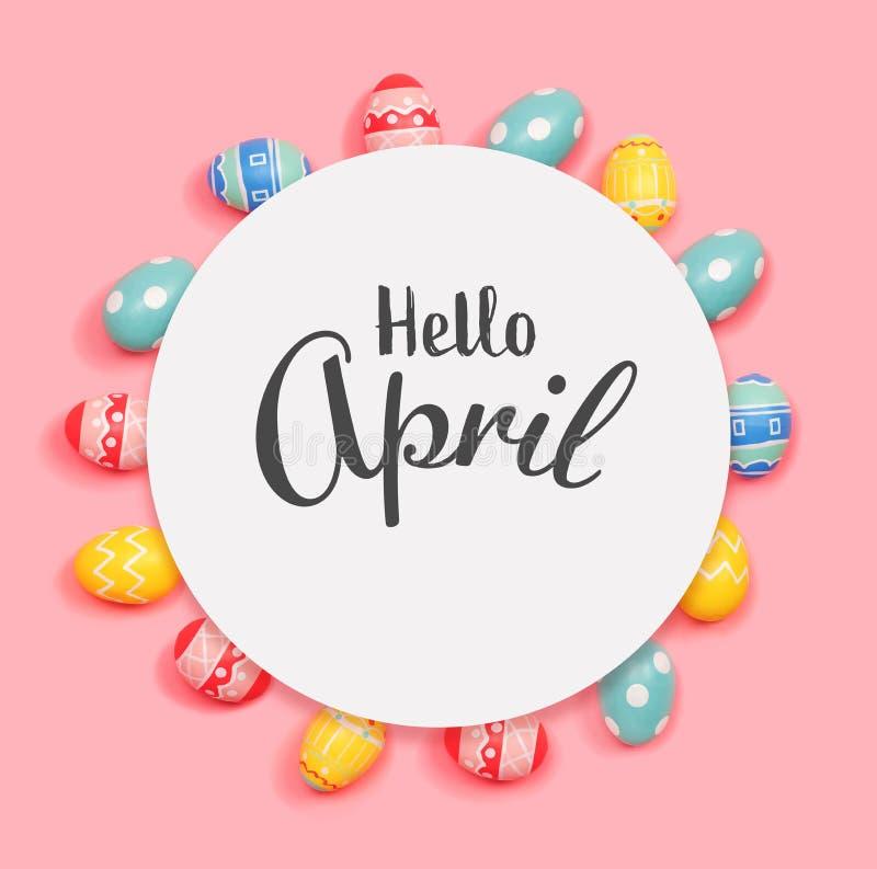 Bonjour message d'avril avec des oeufs de p?ques photo libre de droits