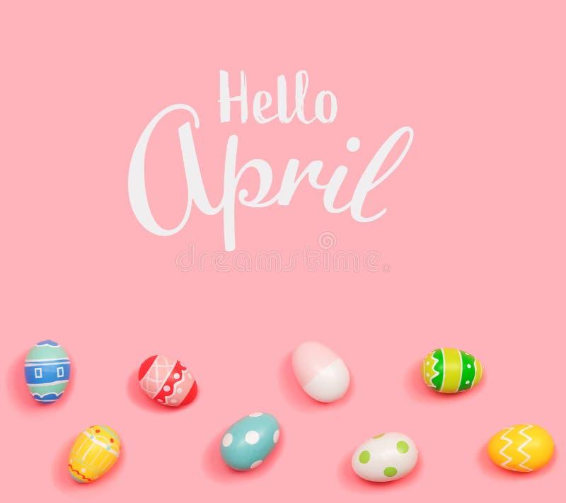 Bonjour message d'avril avec des oeufs de p?ques photo stock