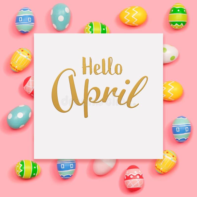 Bonjour message d'avril avec des oeufs de p?ques image libre de droits