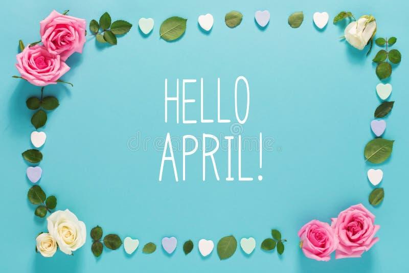 Bonjour message d'avril avec des roses et des feuilles images libres de droits