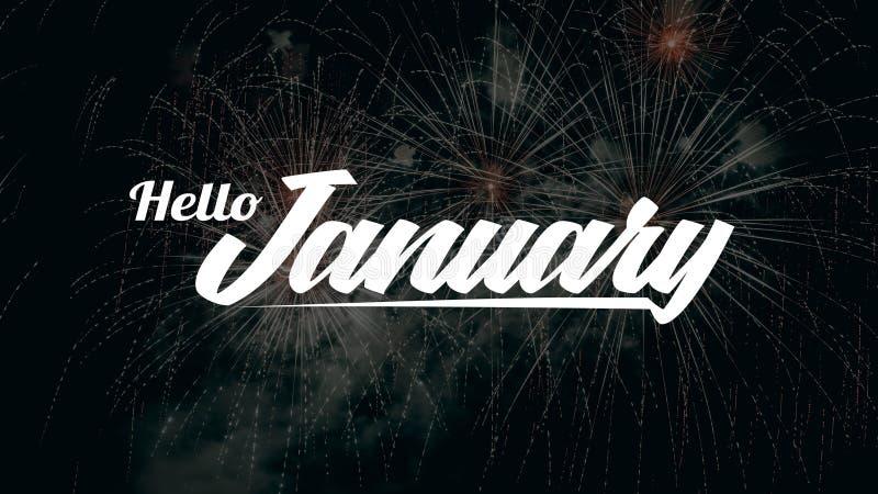 Bonjour mois de janvier photo stock