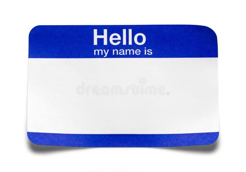Bonjour mon nom est étiquette pliée image libre de droits