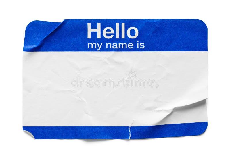 Bonjour mon nom est étiquette utilisée photos stock