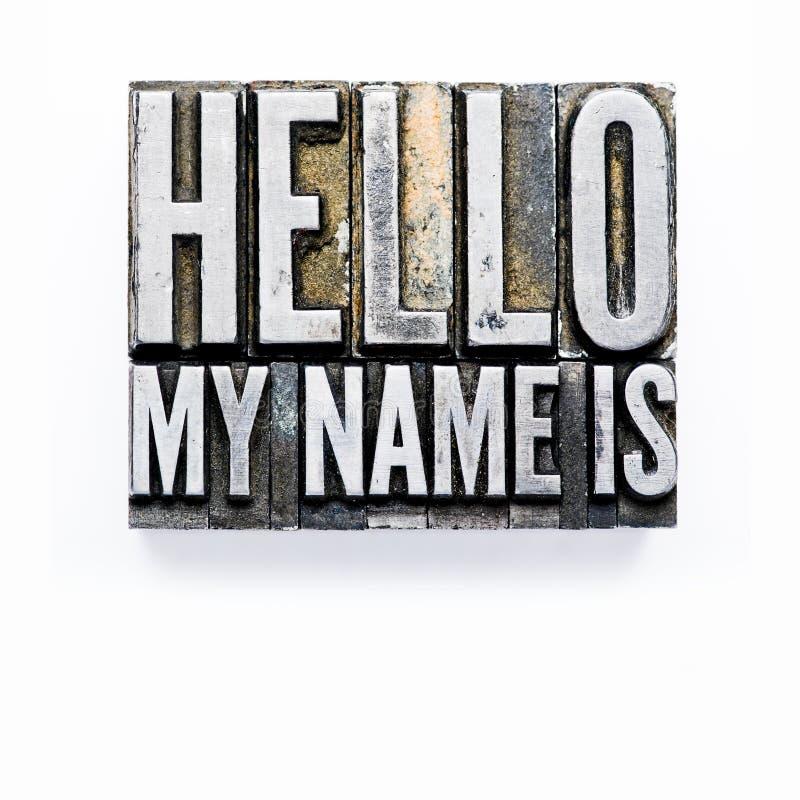 Bonjour, mon nom est image stock