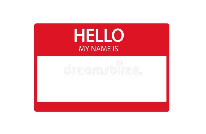 Bonjour, mon nom est label plat rouge d'introduction illustration de vecteur