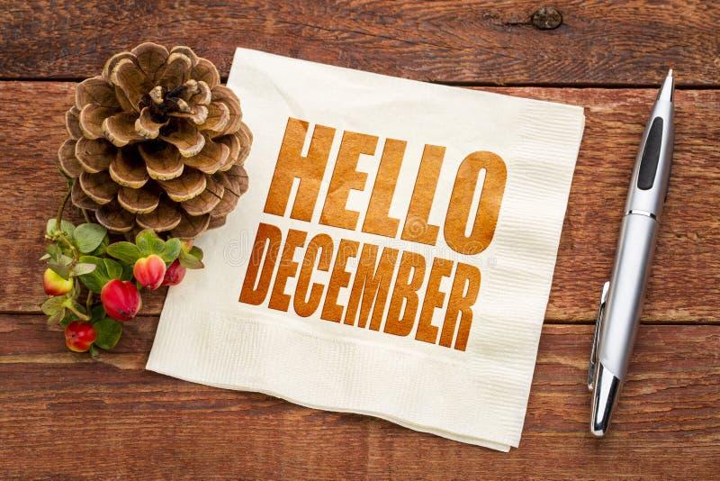 Bonjour note de décembre sur une serviette images libres de droits
