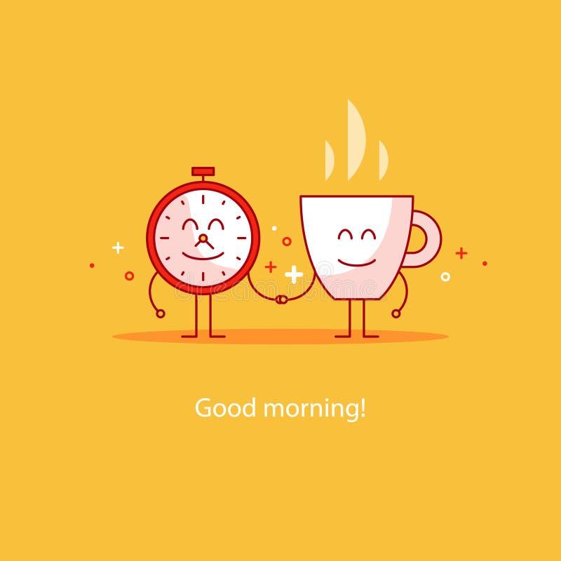 Bonjour, nouveau jour heureux, coupure chaude de temps de thé, boisson de petit déjeuner illustration de vecteur