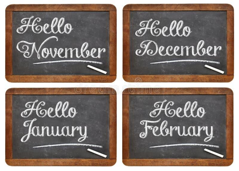 Bonjour novembre, décembre, janvier, février photo libre de droits