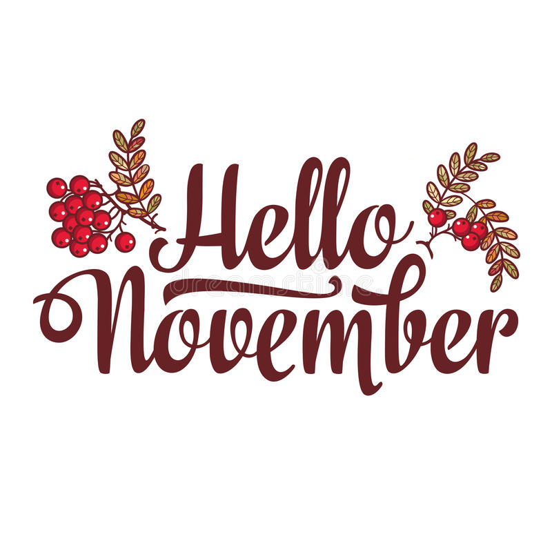 Bonjour novembre insecte de composition en lettrage ou calibre de bannière Vente du texte illustration de vecteur