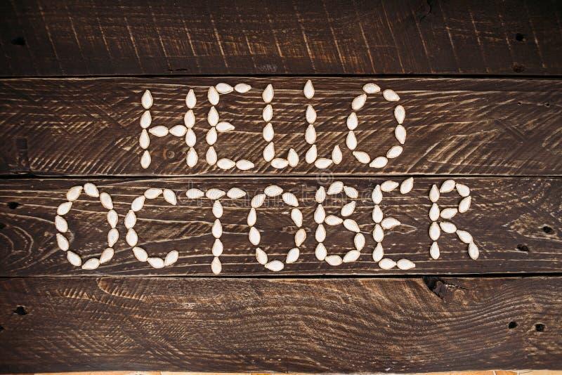 bonjour octobre photographie stock