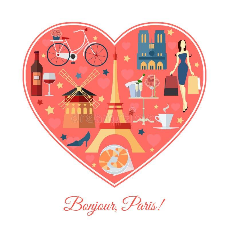 Bonjour, París Fondo del viaje de Francia con ilustración del vector