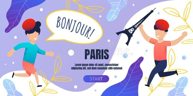 Bonjour Paris Banner Template with Happy Children vector illustration