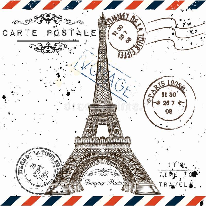 Bonjour Paris Efterföljd av tappningvykortet med Eiffel släp royaltyfri illustrationer