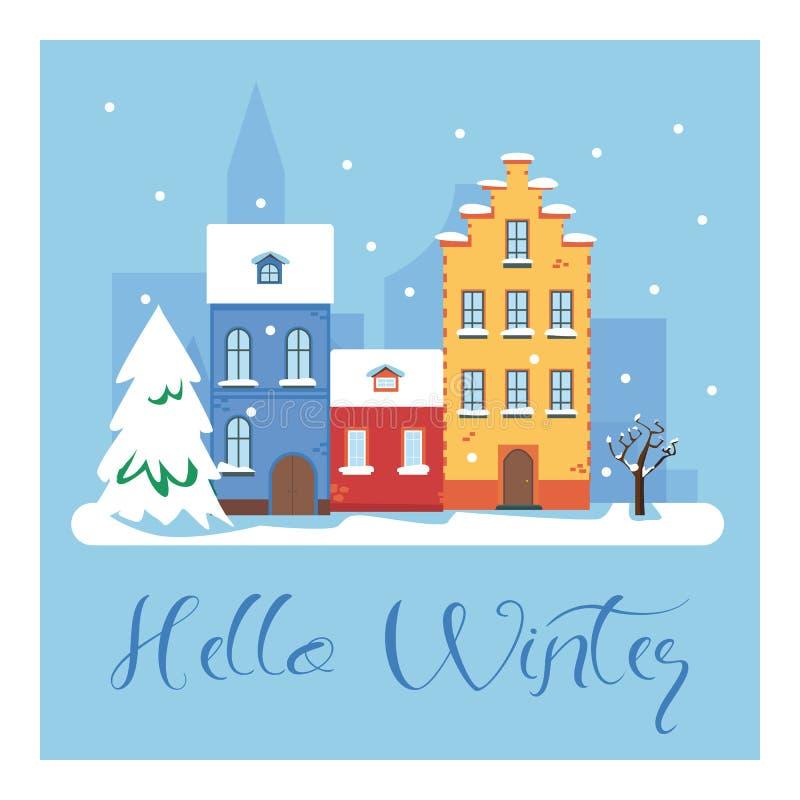 Bonjour paysage urbain d'hiver La ville en quelques vacances d'hiver Horizontal urbain Illustration plate de vecteur illustration de vecteur