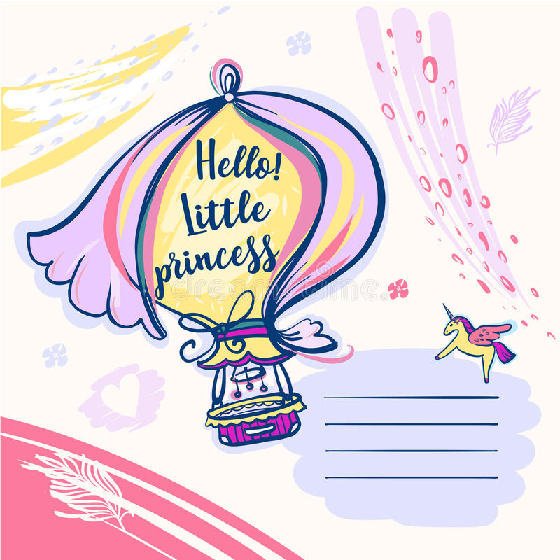 Bonjour petite princesse Ivitation de calibre pour la fête de naissance illustration libre de droits