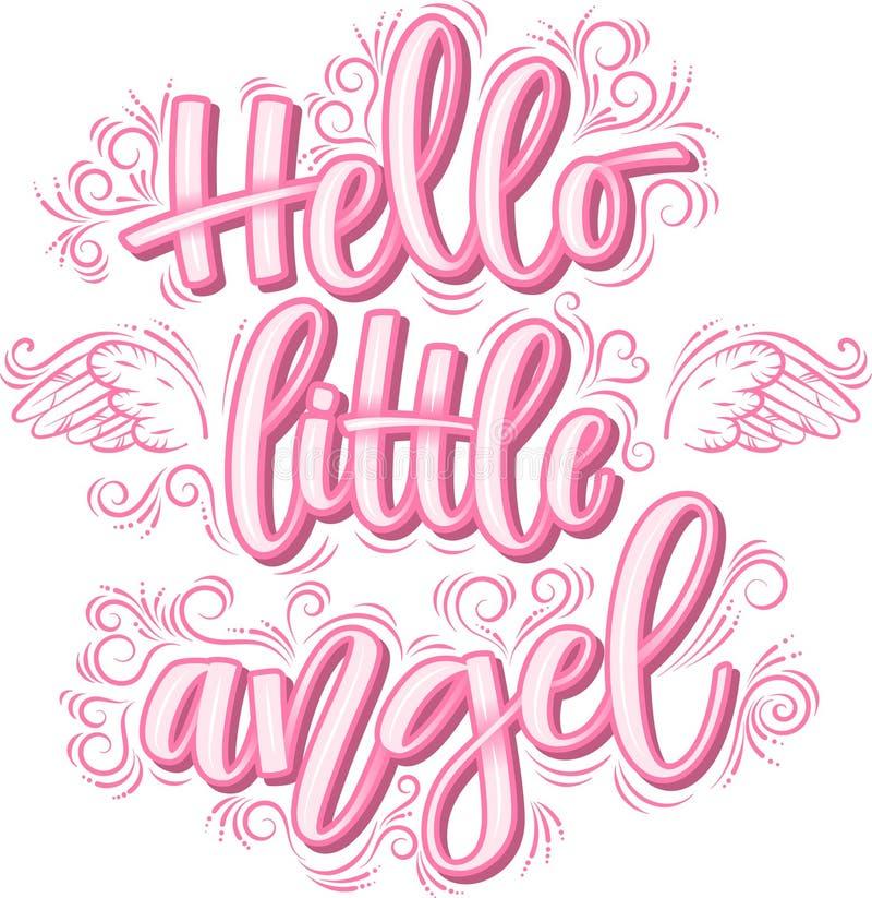 Bonjour peu de lettrage d'ange en inscription rose d'isolement sur le fond blanc illustration de vecteur