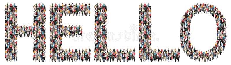 Bonjour saluant l'ethnie multi de personnes photographie stock libre de droits