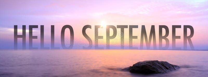 Bonjour septembre avec le seaview gentil images stock