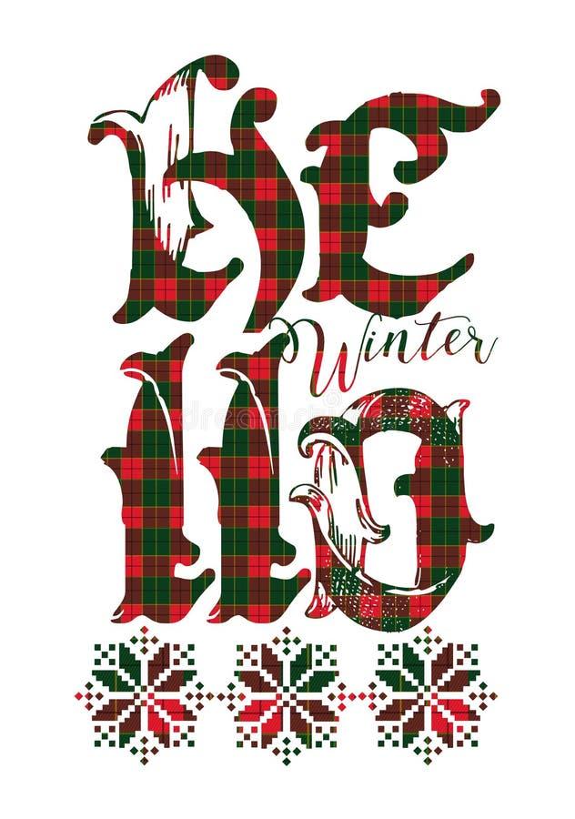 2019 BONJOUR signes de carte de décoration de Noël de vacances de bonne année de vacances d'hiver beaux illustration de vecteur