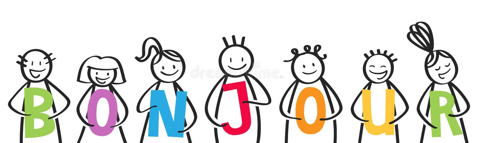 BONJOUR, smiling group of stick figures holding colorful letters, welcome address, french kids saying hello. Isolated on white background vector illustration
