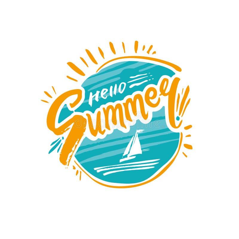 Bonjour ?t? Cercle de mer et de soleil avec le logo thématique calligraphique Inscription manuscrite de vecteur illustration libre de droits
