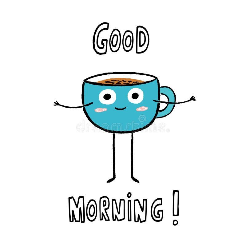 Bonjour ! Tasse de café photographie stock libre de droits