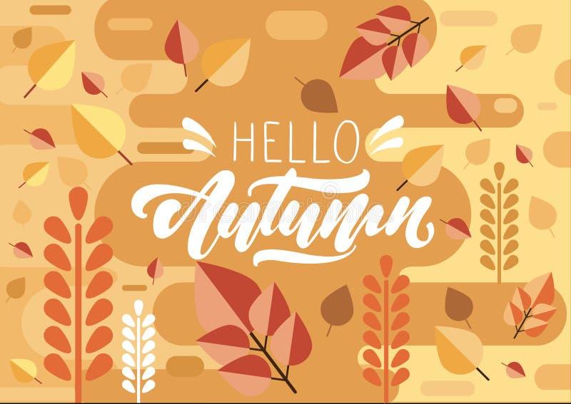 Bonjour texte d'automne dans le lettrage sur le fond dans le style plat avec la feuille et les couleurs d'automne Conception d'il illustration libre de droits