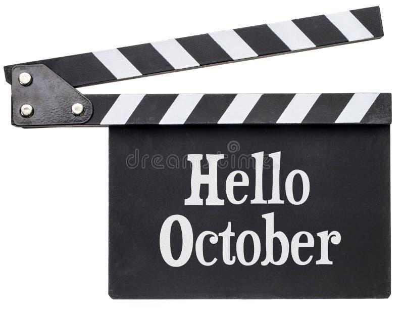Bonjour texte d'octobre sur le bardeau photographie stock libre de droits