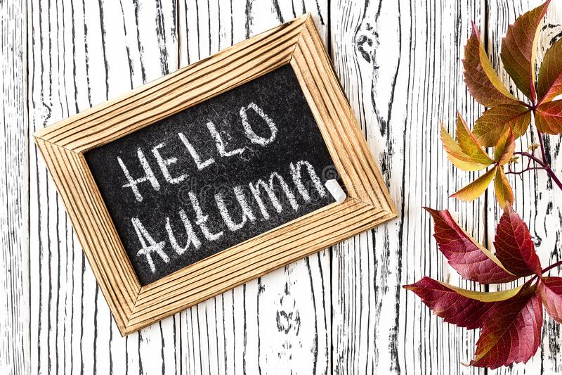 Bonjour texte de salutation d'automne sur le tableau Vue sup?rieure image stock