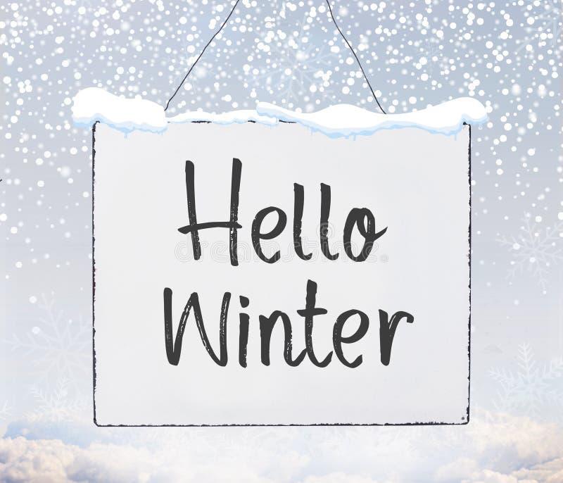 Bonjour texte manuscrit de saison froide d'hiver sur la bannière de panneau en métal illustration stock