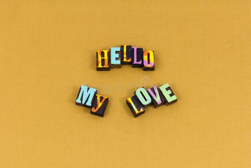 Bonjour typographie bienvenue de bonheur de salutation d'amour photo stock