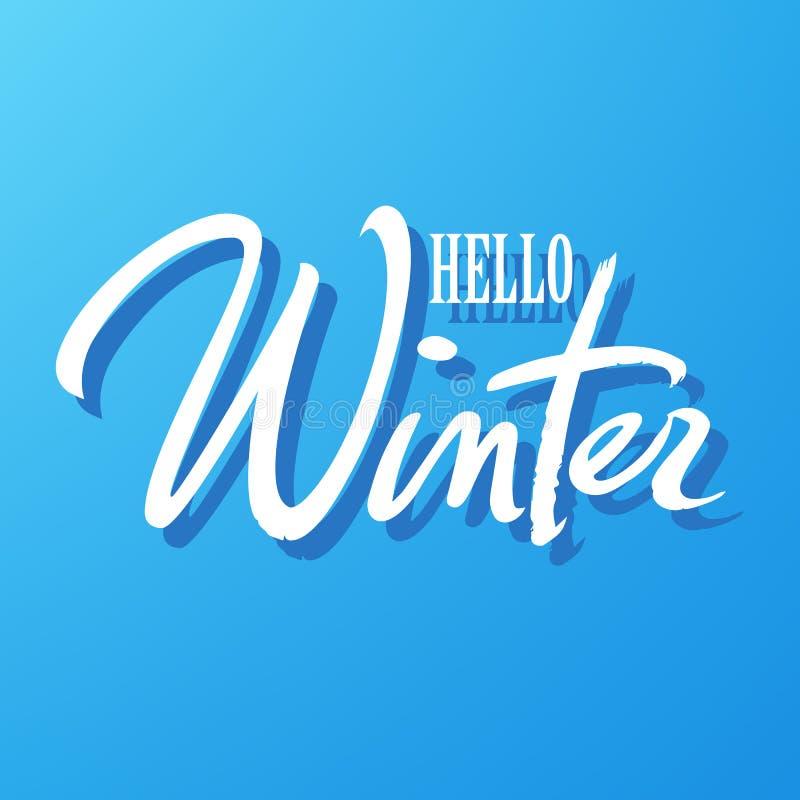 Bonjour typographie d'hiver Lettrage écrit par main Texte blanc d'isolement sur le fond bleu Calligraphie de vacances d'hiver illustration de vecteur