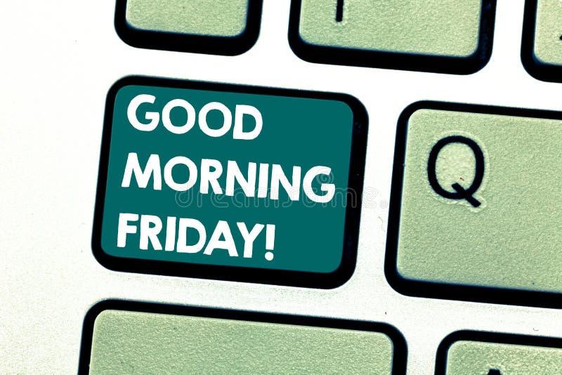 Bonjour vendredi textes d'écriture E photographie stock