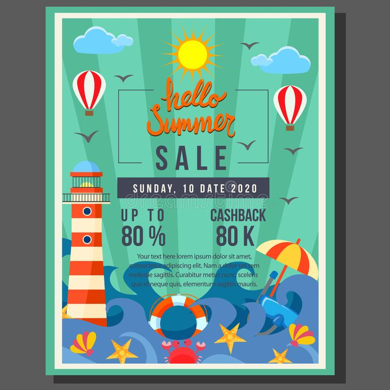 Bonjour vente d'affiche d'été avec la frontière plate de style de vague de plage illustration de vecteur