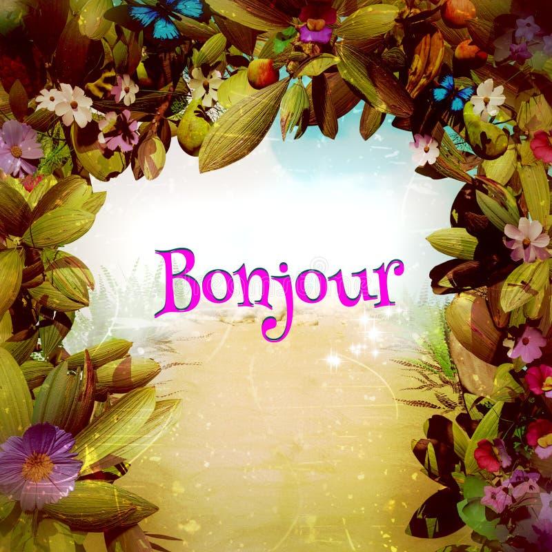 Bonjour w Magicznej fantazja kwiatu bramie royalty ilustracja
