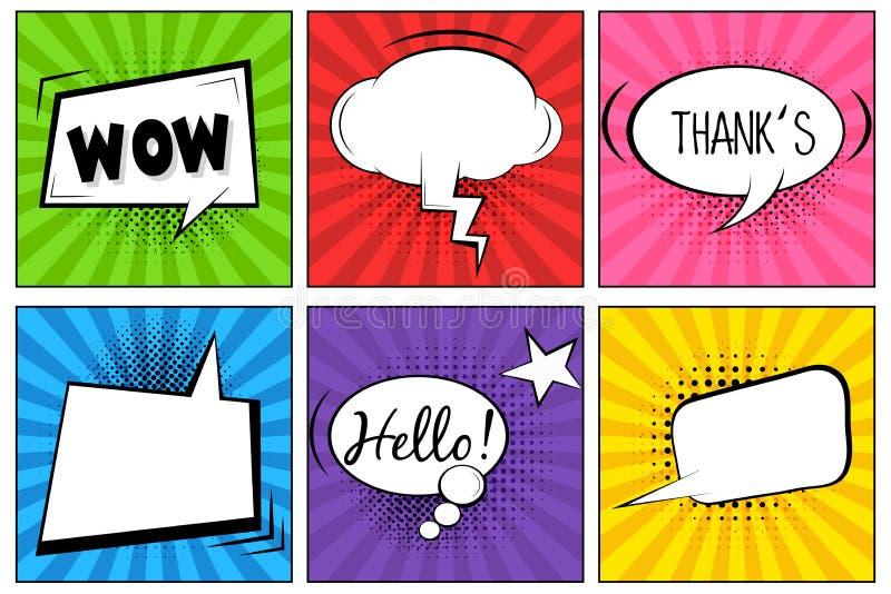 Bonjour ! WOUAH ! Thank ! Bulles comiques de la parole Illustration de label de vecteur d'art de bruit Les bandes dessinées de cr illustration stock
