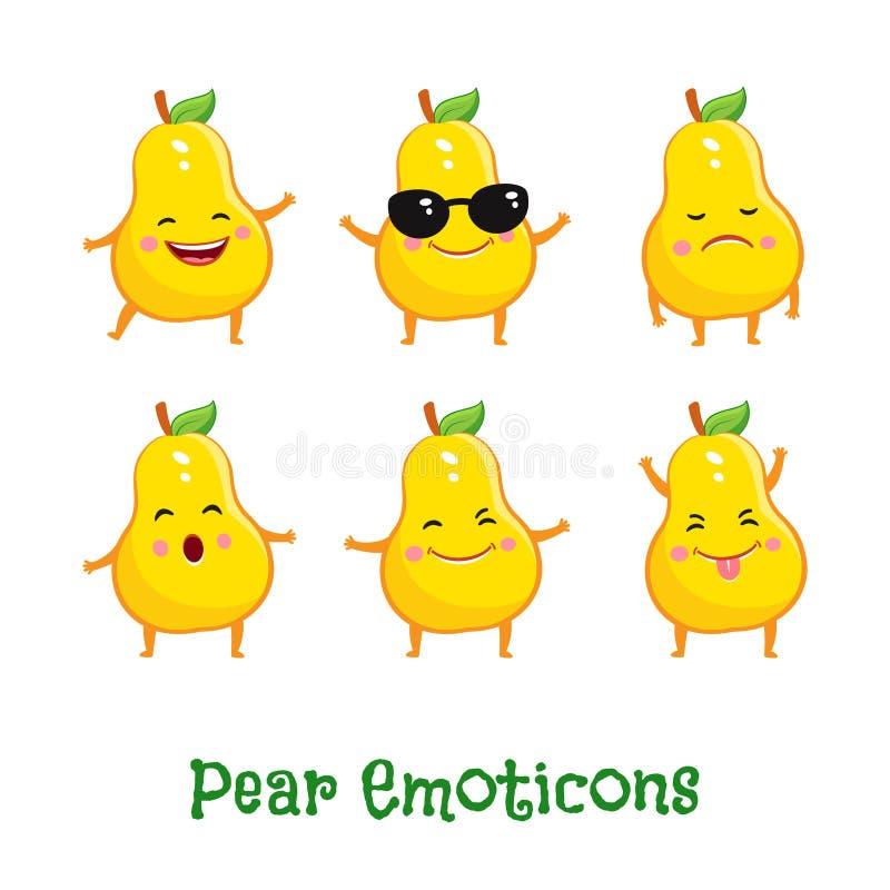 Bonkreta uśmiechy Śliczni kreskówek emoticons Emoji ikony royalty ilustracja