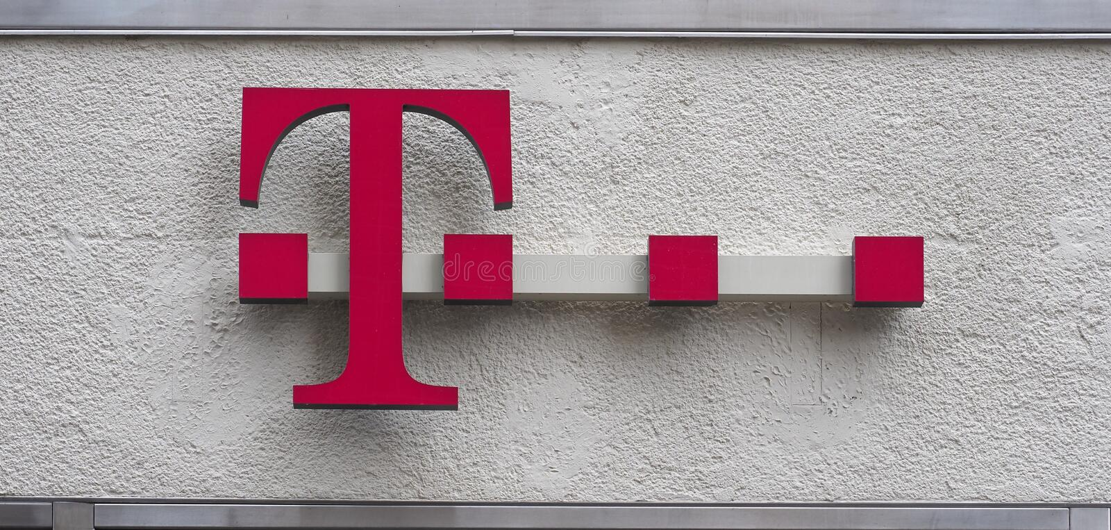 BONN - AUG 2019: Deutsche Telekom sign stock photo