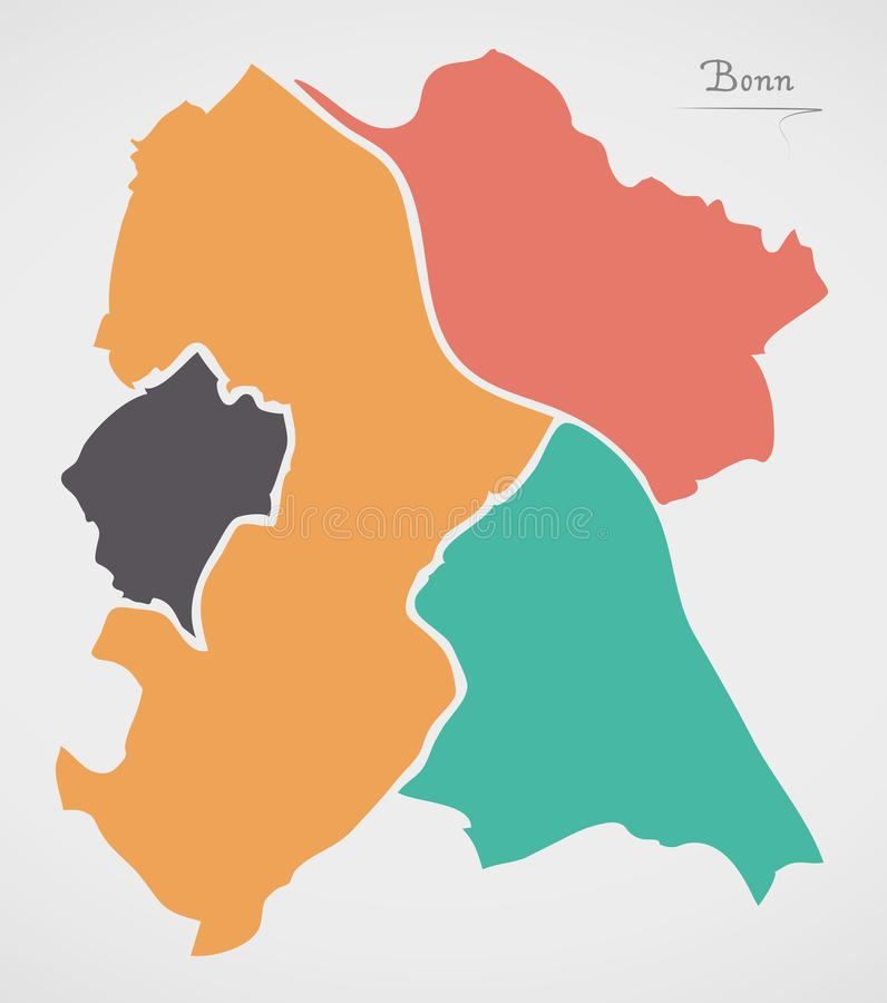 Bonn Map with boroughs and modern round shapes. Illustration vector illustration