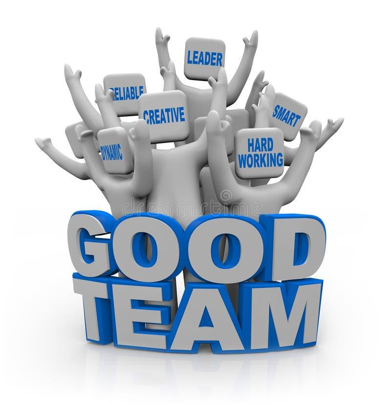 Bonne équipe - les gens avec des qualités de travail d'équipe illustration libre de droits