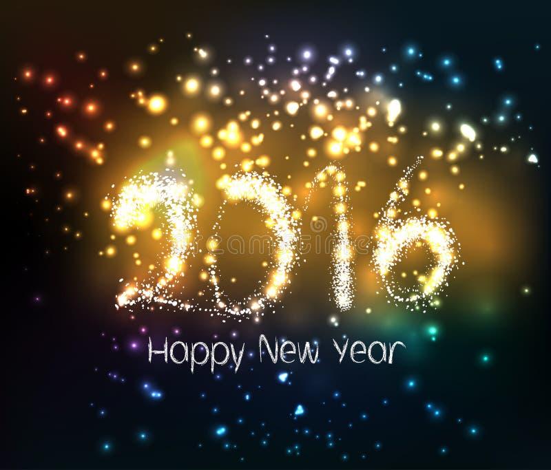 Bonne année 2016 écrite avec le feu d'artifice d'étincelle illustration de vecteur