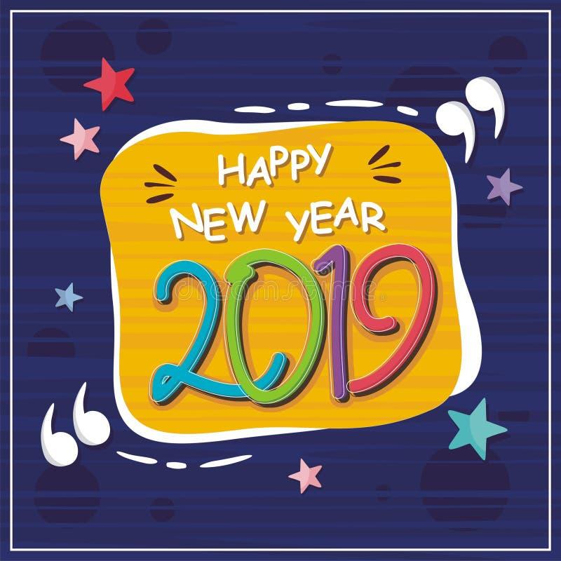 Bonne année abstraite 2019 avec la conception à la mode illustration de vecteur