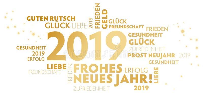 """Bonne année allemande de """"Jahr de neues de frohes """"de slogan sur le fond blanc illustration libre de droits"""